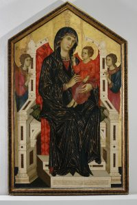 Maestro di Badia a Isola, Madonna in trono col Bambino, fine XIII secolo, museo di san pietro, colle di val d'elsa