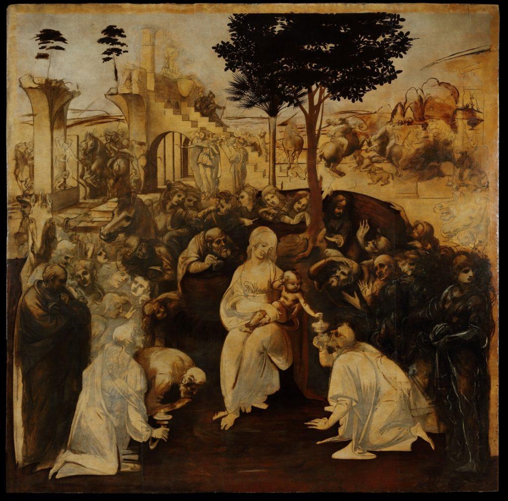 adorazione dei magi, leonardo da vinci, uffizi dopo il restauro dipinto intero